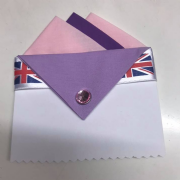 Pink & Purple Pocket Hankie With Lavender Flap & Pin 1
